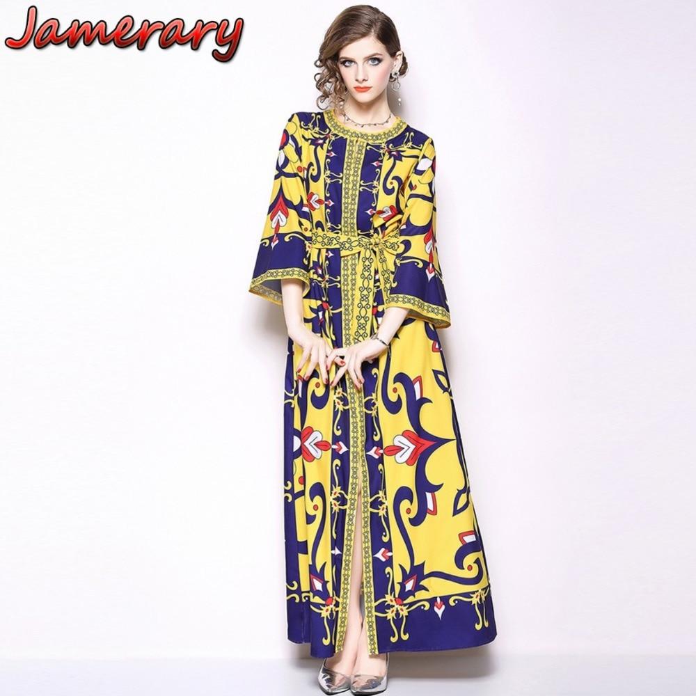 Women Autumn Dress Sleeve Abstract Vestido Longo Printed Floral Maxi Dress Plus Size Elegant Designer Runway Casual Dress Shirt