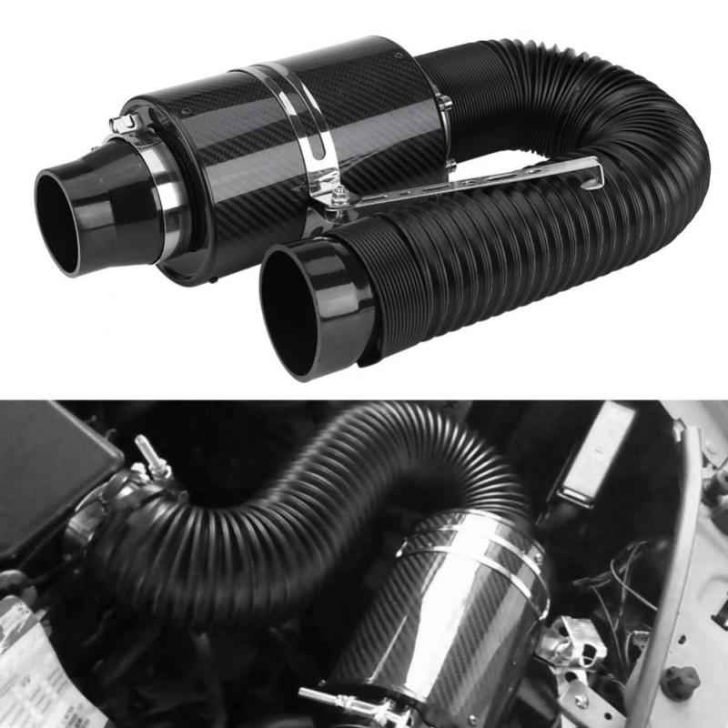 Universal Car 3 76mm Carbon Fiber Cold Air Filter Feed Enclosed Intake Induction Pipe Hose Kit Set Auto Parts With washable