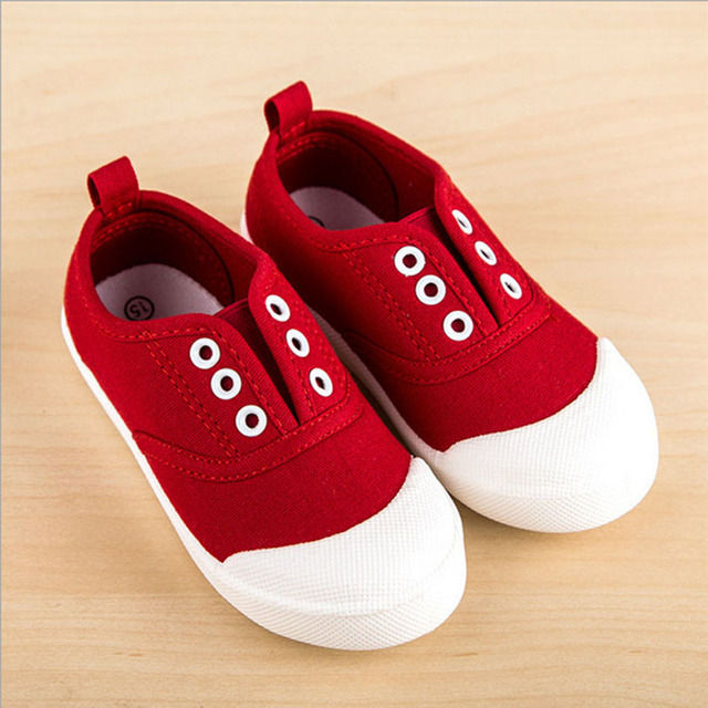 2017  Toddlers Girls Canvas Shoes For Casual Slip on Canvas Baby First Walkers Baby Shoes Size 5-12