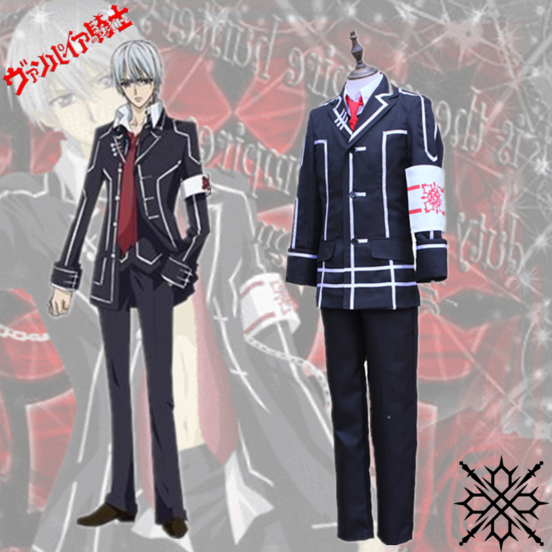 Vampire Knight Kiryu Zero Black School Uniform Cosplay Costume Vic Mignogna Full Set Outfits Fancy Party Performance Costumes