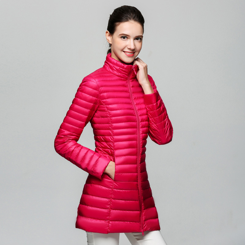 90% White Duck   Down   Jackets Women Winter New Fashion Waterproof Light Warm Soft Solid Color Long   Coat   Slim Parkas Large Size