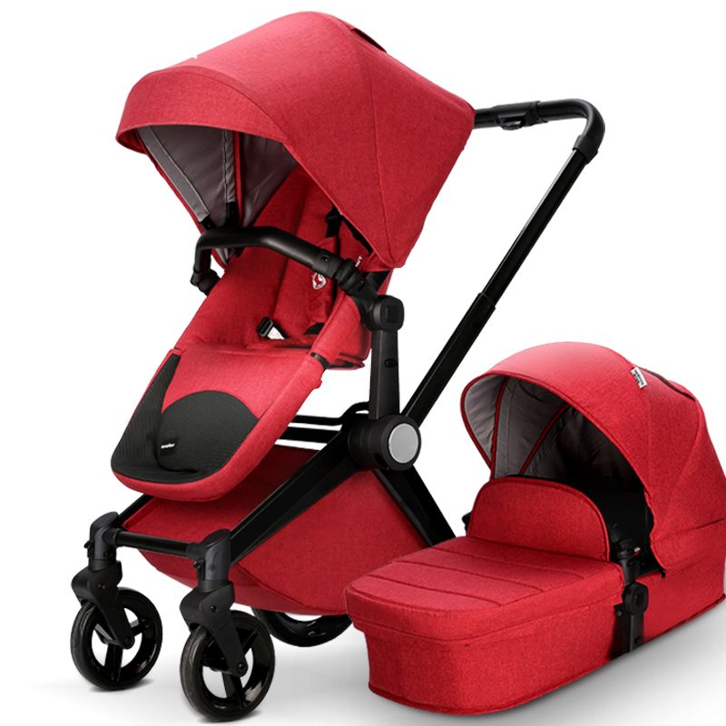 2017 Newest Luxury Baby Stroller Red Color 2 In 1 Kids Pram With Cradle For Infant Baby Pushchair 2-In-1 Stroller With Carrycot double stroller red pink blue color twins infant stroller sale kids sleep comfortable more at ease sophisticated technologies