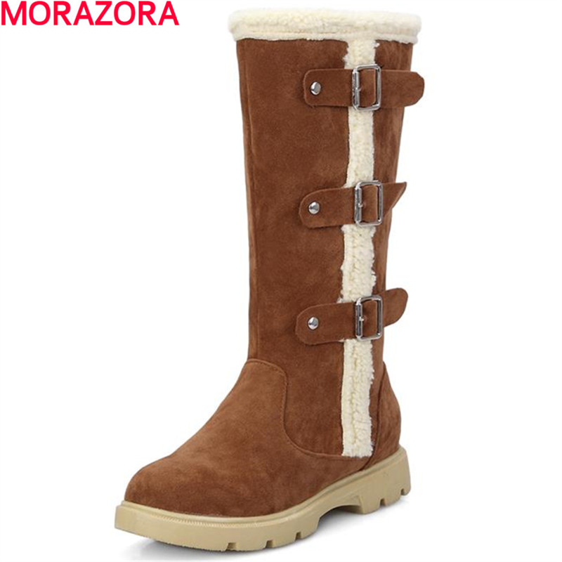 MORAZORA Sweet new arrival mid-calf boots buckle square low heels shoes solid simple for lady winter women snow boots стоимость