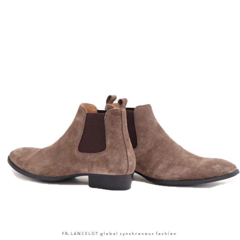 Marca Fr As Lancelot Homens Chelsea Zapatos Da De Saltos as Para Reais Tornozelo Sapatos Showed Elasticidade Baixos Luxo Camurça Botas Showed Rasa wUrtdrq