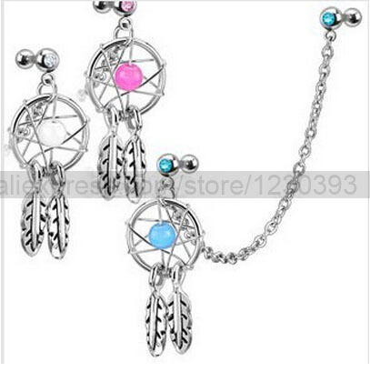 2015 Wholesalet Dream Catcher Dangling Chain Earrings Ear Helix Tragus Cartilage Studs Piercing Barbell Jewelry 3 Colors/ Se ...