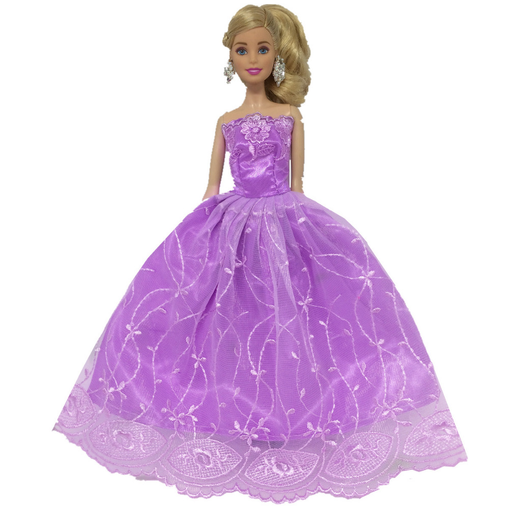 NK One Pcs Princess Doll New handmake wedding Dress Fashion Clothing Gown For Barbie Hot Dolls Accessories Best Gift 021C 2016 hot now fashion original edition sofia the first princess doll vinyl toy boneca accessories doll for kids best gift