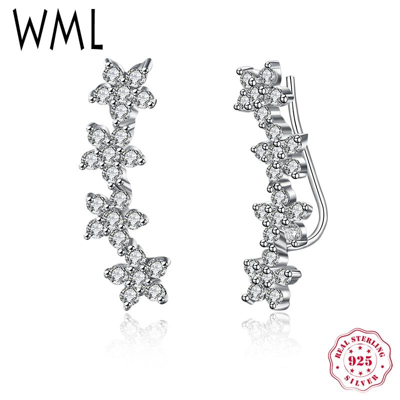 WML Genuine Solid 925 Sterling Silver Flower Star CZ Drop