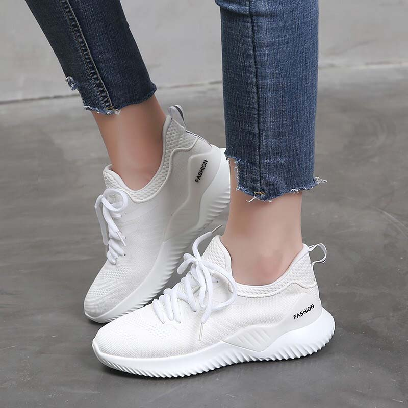 VTOTA Platform Sneakers Women Fashion Mesh Wedges Walking Shoes Vulcanize Female Lace Up Casual Shoes Footwears White Shoes sneakers