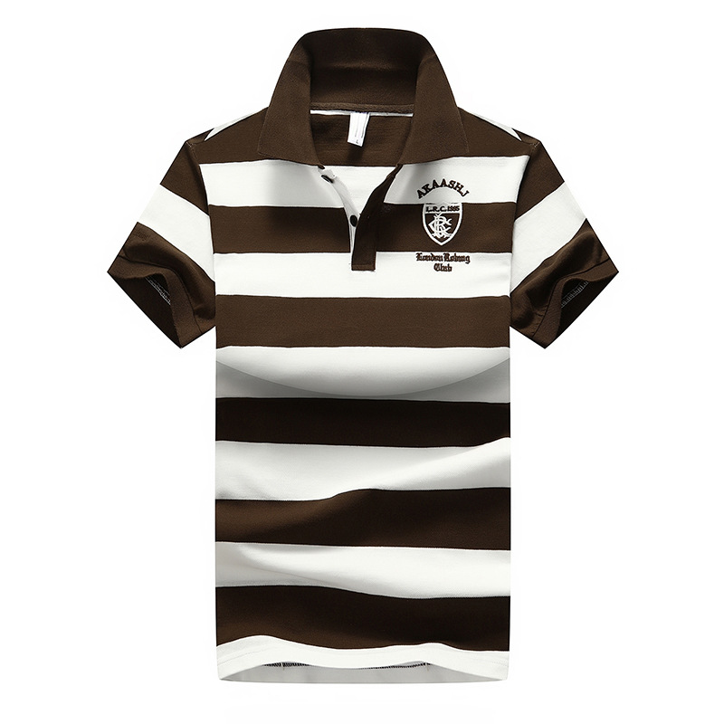 Short Sleeves Casual Men Striped   Polo   Shirts 2018 Summer England Style