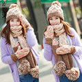 SEGLA Woolen Knitted Pompom Balls Beanies Baggy Lady Winter Warm Plush Earflaps Bonnet Long Tassel Scarf Snow Hat Gloves Sets