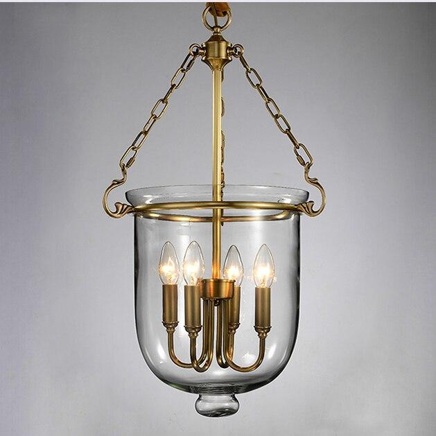 European Country Glass 100% Copper Droplights Home Indoor Lighting Dining Room Restaurant Bedroom Shops Pendant Lights Fixture
