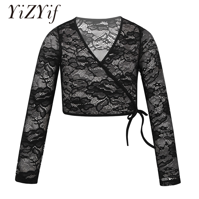 YiZYiF Kids Girls Ballet Costumes Lace Wrap Top Floral Lace Long Sleeve V-neckline Wrap Top Ballet Dance Sweater Ballet Cothings