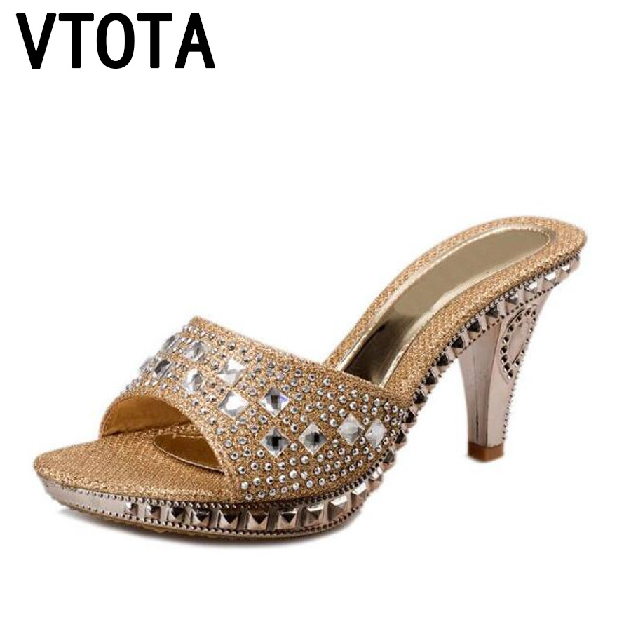 VTOTA női papucs magas sarkú szandál platform 2017 strasszos Sandalias Mujer Sapato női női cipő papucs női R43