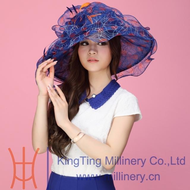 Envío Libre Elegante Del Organza Iglesia Sombrero Sombrero De Verano de Moda de Lujo Vestido de Novia Sombrero de La Flor