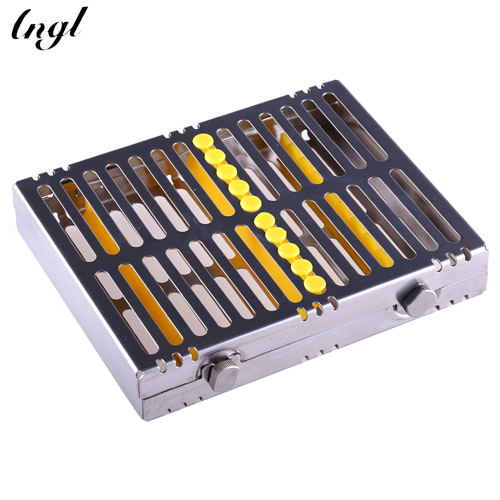 Dental Sterilization Cassette Disinfection Rack Tray Box For 10 Instrument Dentistry Material Dentist Tool Free Shipping dental sterilization box for gutta percha root canal file high speed bur disinfection box dental tool box disinfection box sl308