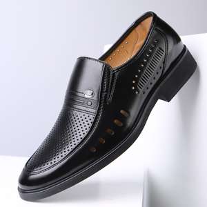 Image 3 - Men Formal Shoes 2019 Summer Breathable Fashoin Mens Leather Dress Shoes Office Business Shoes for Men Father Flats