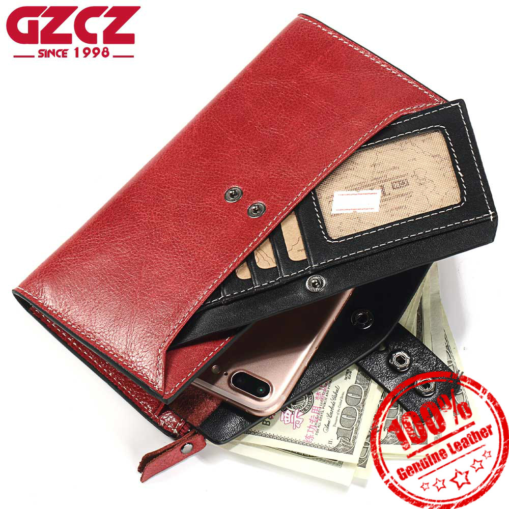 GZCZ Women Wallets Genuine Leather Coin Long Purse Brand Design Clutch Money Bags Wallet High Quality Fashion Female Purse 2018 new women wallets oil wax genuine leather high quality long design day clutch cowhide wallet fashion female card coin purse