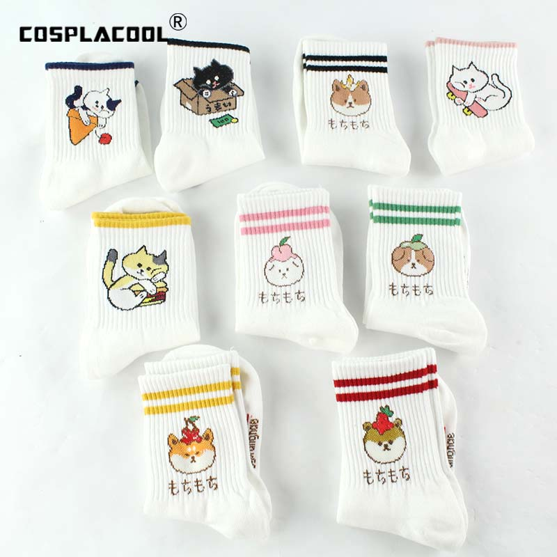 [COSPLACOOL]Cute Animal Japan Skarpetki Funny Socks Kawaii Fruit Sokken Art White Socks Women Novelty Harajuku Chaussette Femme