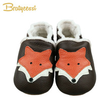Cartoon Fox Baby Shoes Newborn Winter Plush Lining Genuine Leather Baby Moccasins Slip On Soft Sole Infant First Walkers