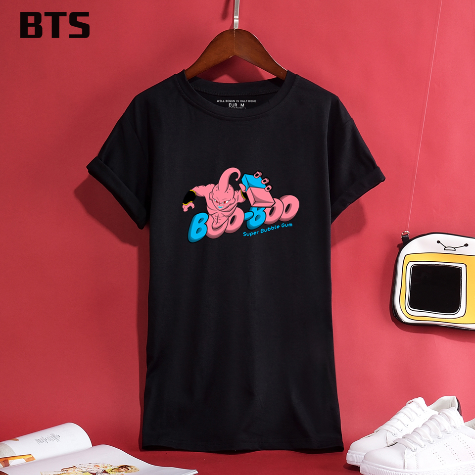 BTS BOO T-shirts Women Summer Style Short Sleeve Casual Global Sales Harajuku Creative Female Loose Tee Shirt Women Cotton