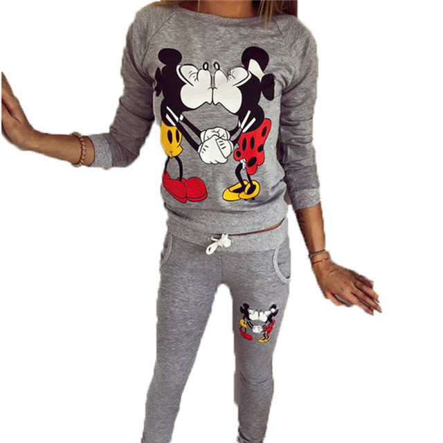 2016 women fall winter KISS stamp long sleeved pants casual sportswear sweater suit