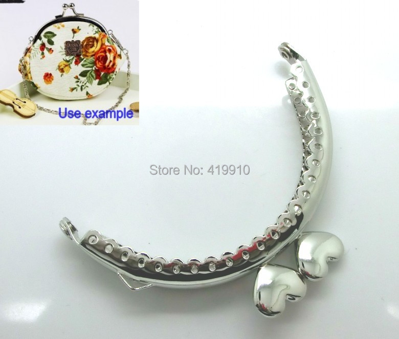 Free Shipping-3PC Metal Frame Kiss Clasp Arch For Purse Bag Lock Handle DIY Handmade Silver Tone Heart Pattern 8.5x5.5cm J2637
