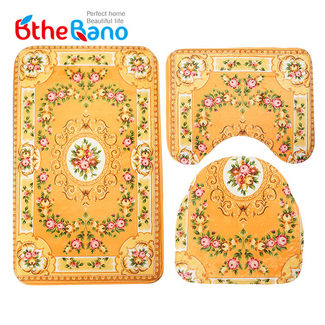 3 Pieces Set Vintage Flower Bathroom Rug Carpet Non Slip Tape Mat Water Absorption