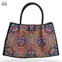 Fashion Vintage Embroidery National Ethnic Flowers bags Embroidered hand Bag Ladies Women's Big Shoulder Travel Bag Handbags