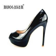 2558786a64a Plate-Forme de marque Chaussures Femme Talons hauts Sexy Pompes Peep Toe  femmes Parti Chaussures