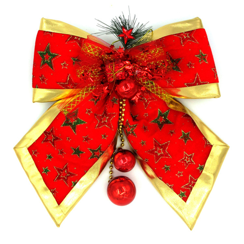 New year gold red star flower bow super large Christmas tree decorations gifts home hotel shop wall door column window ornaments