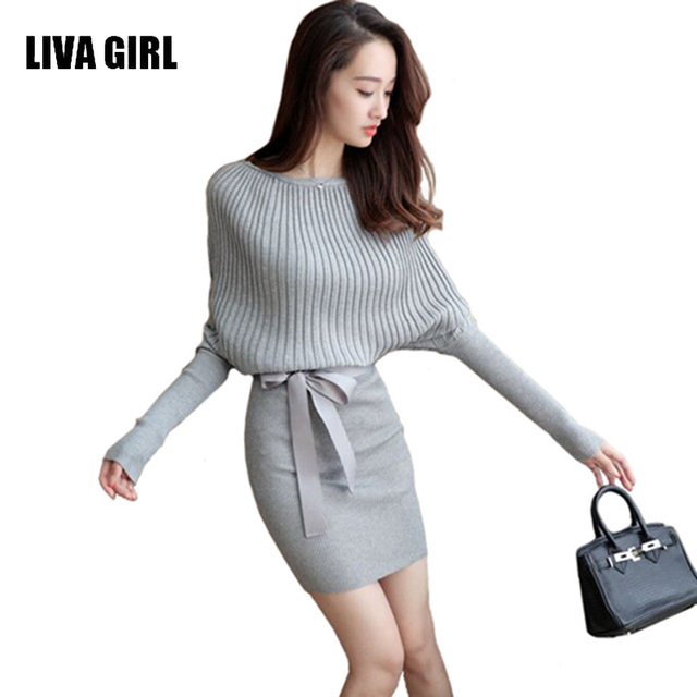 e16c35a4b8b LIVA GIRL Women Sweater Dress Autumn Slim Batwing Sleeve Bodycon Dresses  Elastic Dress Brief Black Knitted Dress Vestidos C02