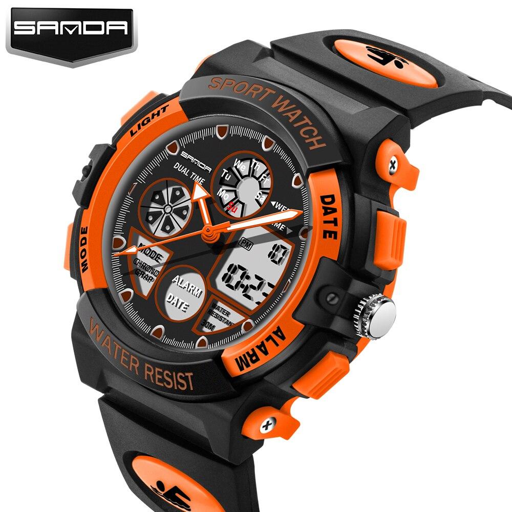 SANDA Children Watch Luxury Top New XFCS Cartoon LED Digital Watch Alarm Clock Sport Watch Dual Display Watches Clock Kids