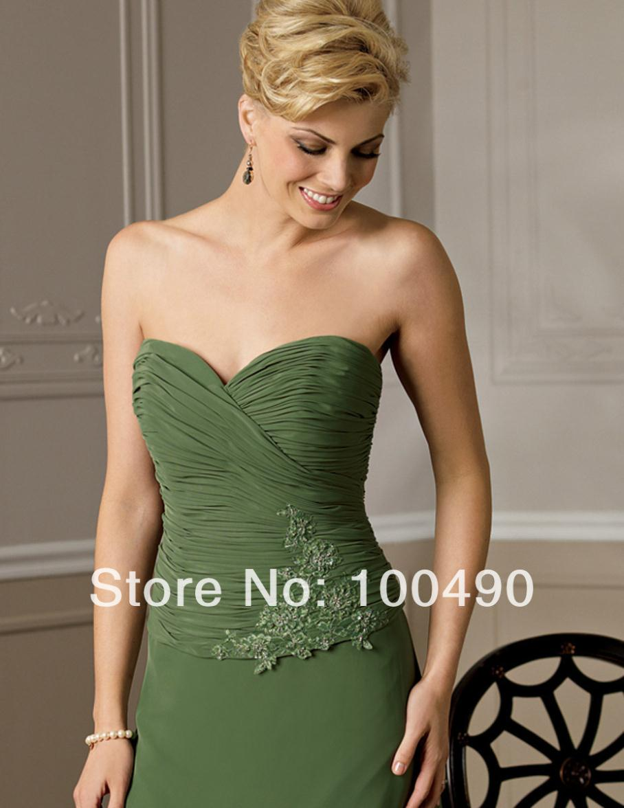 9bd8a62e63 Olive green Mother of the bride dresses gowns with lace jacket bolero half  sleeves Sweetheart neckline-in Mother of the Bride Dresses from Weddings    Events ...