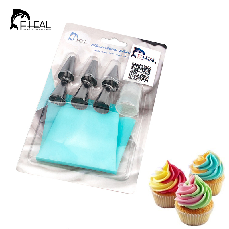 DIY Silicone Icing Piping Cream Pastry Bag With 6pcs Stainless Steel Cake Decorating Nozzles Tool Bakeware 7pcs/set