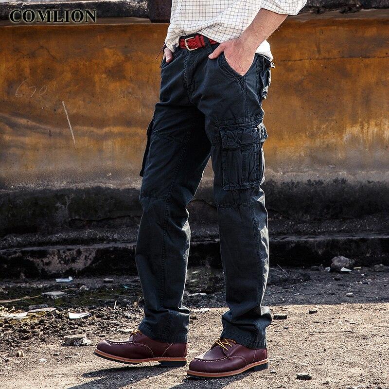 2018 Frühling Herbst Mode Plus Größe Männer Cargo Hosen Casual Herren Hose Multi Tasche Hose Männer Lange Hosen Hohe Qualität F36