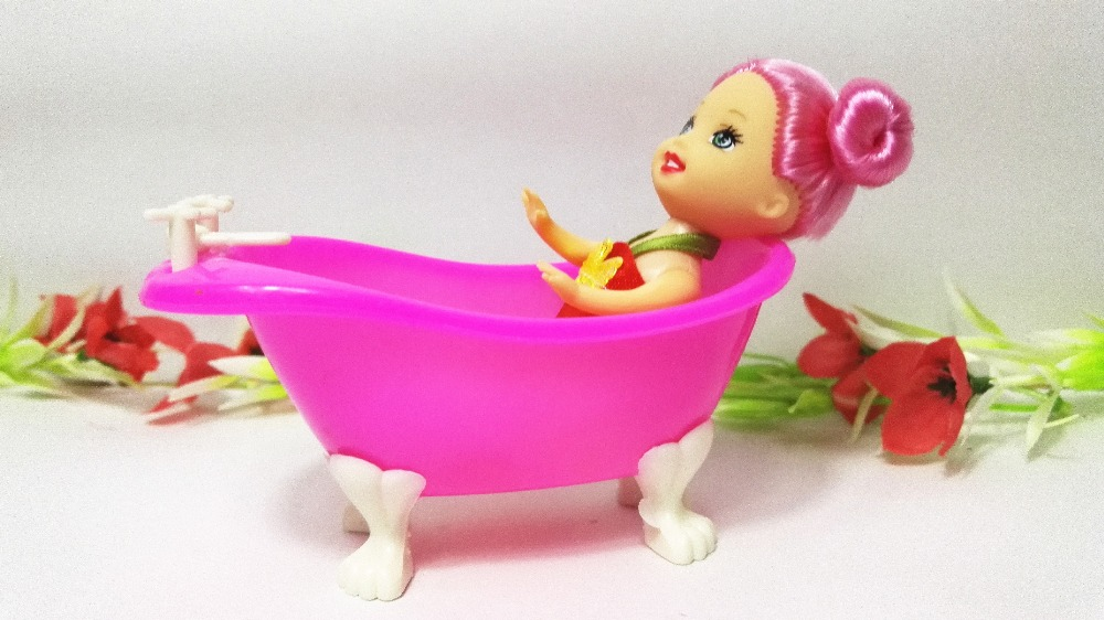 High Quality Cute Red Kelly Doll Baby Bathroom Bathtub Barbie accessaries Toy Play House Dec for Children Girls Wholesale new medical equipment children s toys exported to japan high quality play house toy cosplay childrenm27o