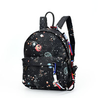 الأزياء نجمة الكون الفضاء الطباعة حقيبة مدرسية الأسود للمراهقات حقيبة صغيرة المرأة جلدية mochila اجتماعيون
