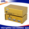 EKL 2Port VGA Splitter 1 In 2 Out 450MHz 1920*1440 for LCD Monitor TV Laptop PC