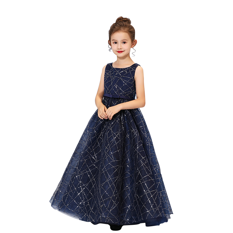Tulle   Flower     Girl     Dresses   Princess Blue Sleeveless Ankle-Length Party Gown For Children Christmas Prom Ball Gown N010