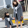 Mother and daughter clothes fall and winter clothes 2016 children's clothing mom and daughter gray wool coat girls winter coat
