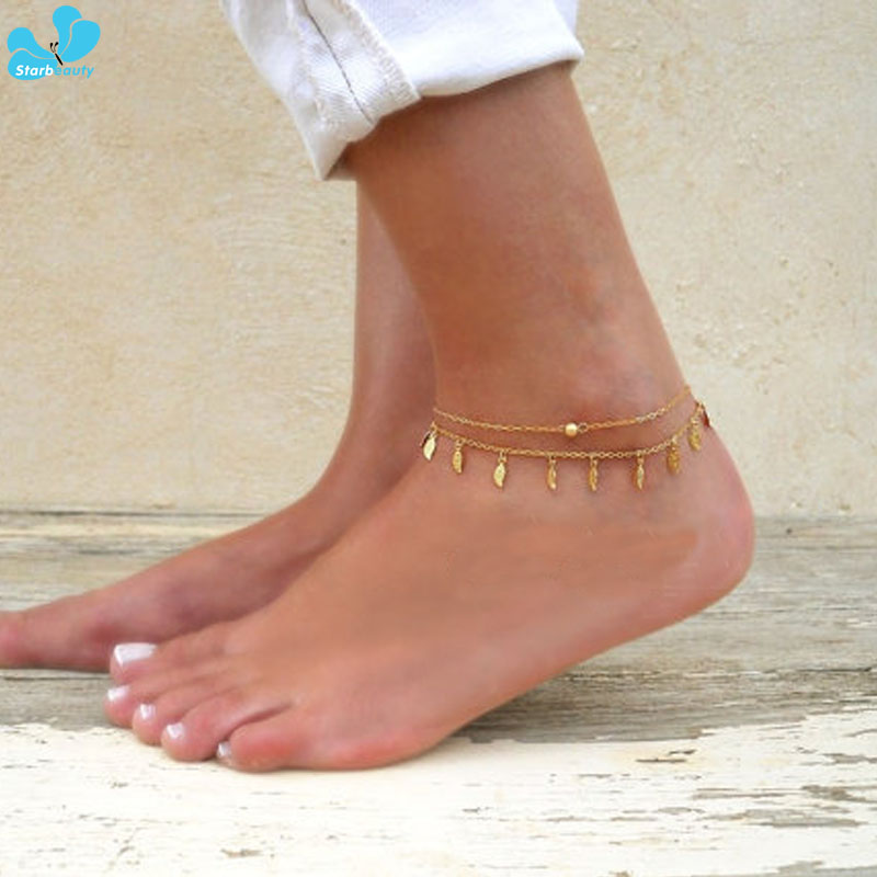 t4 1 Pc  Boho Silver Flower Foot Chain  Ankle Bracelet Anklet