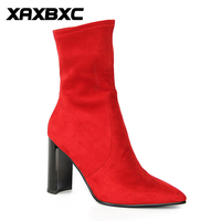 XAXBXC Retro British Style Leather Brogues Oxfords Red Short Boot Women Shoes Thick Heel Pointed Toe