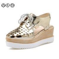 2017 New Women Platform Sandals Pink Gold Sliver Women Gladiator Sandals Fashion Lace Up Wedge Shoes