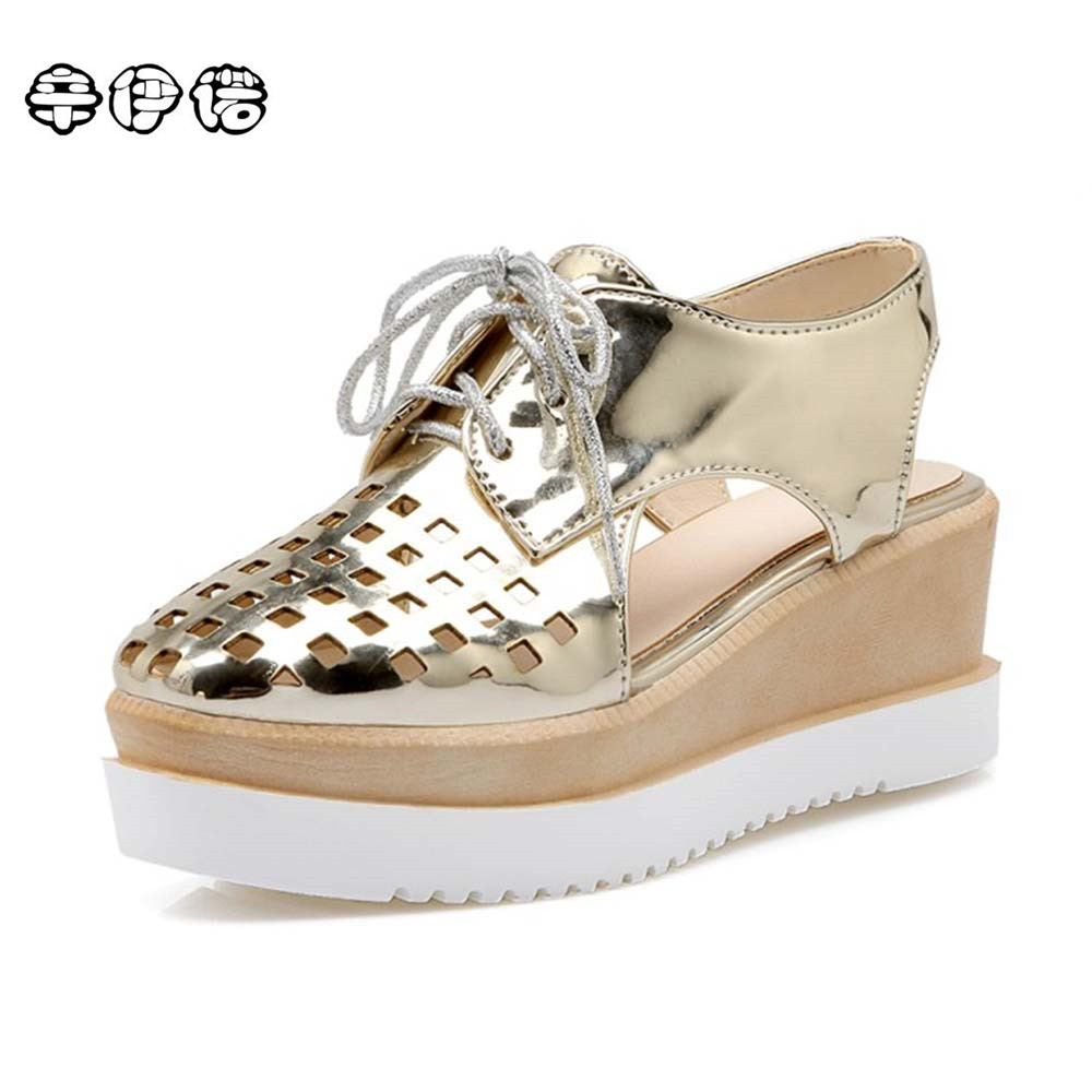 Patent Leather Oxfords 2017 Wedges Gold Silver Platform Shoes Woman Casual Creepers Pink High Heels High Quality Big Size 34~43 retro embroidery women wedges sandals summer style platform shoes woman casual thick high heels creepers slippers plus size 9
