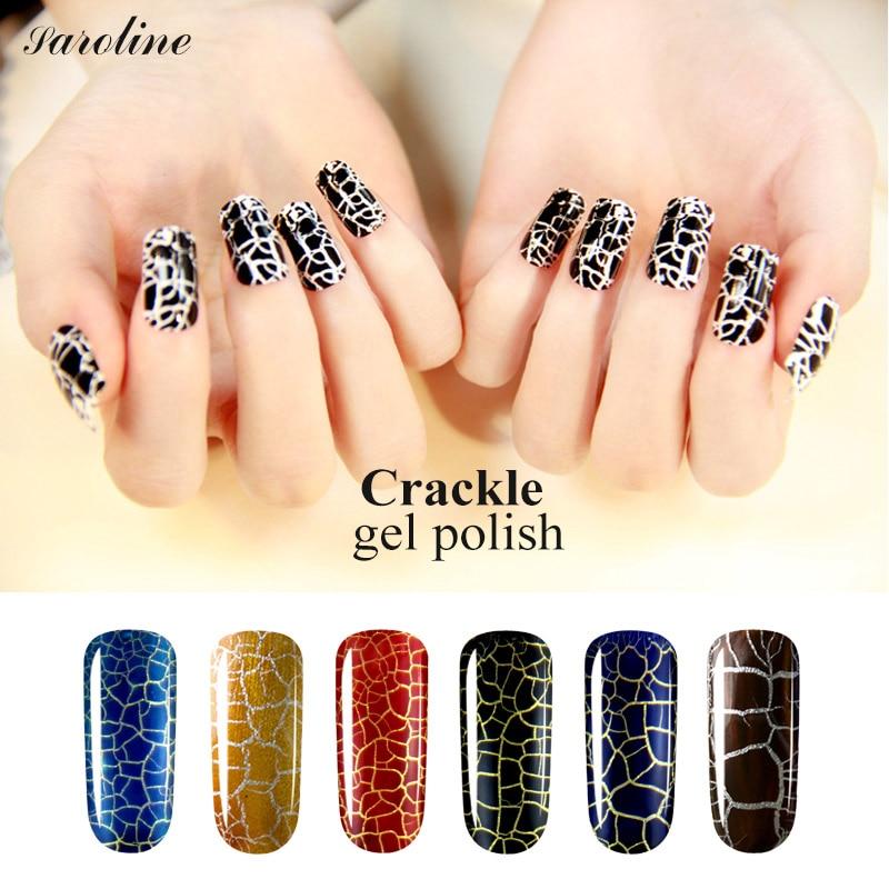 saroline 8ml Long Lasting Crackle Crack Nail Polish UV Nail Gel Lacquer Varnish Soak Off UV LED Light Gel Polish Varnish