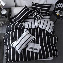 3/4 шт. King queen Размеры домашний текстиль краткое постельное белье Nordic комплект Для мужчин Для женщин постельное белье черный, белый цвет в полоску набор пододеяльников