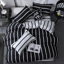 3/4 stücke König Königin Größe Home Textil Kurze Nordic Bettwäsche Set Männer Frauen Bett Leinen Schwarz Weiß Streifen Bettbezug kissenbezug Blatt