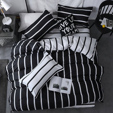 3/4pcs King Queen Size Home Textile Brief Nordic Bedding Set Men Women Bed Linen Black White Stripe Duvet Cover Pillowcase Sheet(China)