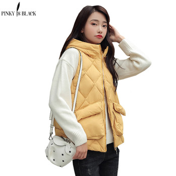 цена на PinkyIsBlack Women Vest 2019 Fashion Winter Solid Vest Short Slim Cotton Down Waistcoat Female Thick Hooded Warm Sleeveless Vest