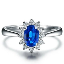0.25 carat Natural Sapphire Princess jewelry flower 14K White Gold Women Diamond Gemstone Ring For Wedding blue Valentine(China)